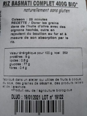 Riz basmati complet - Valori nutrizionali - fr