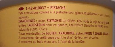 Pistache , pâte aromatique colorée pour glaces et pâtisseries - Ingrédients - fr