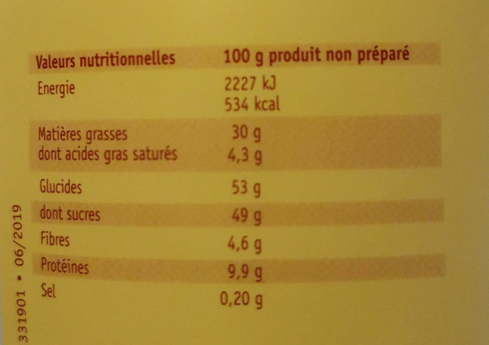 Pistache , pâte aromatique colorée pour glaces et pâtisseries - Informations nutritionnelles - fr