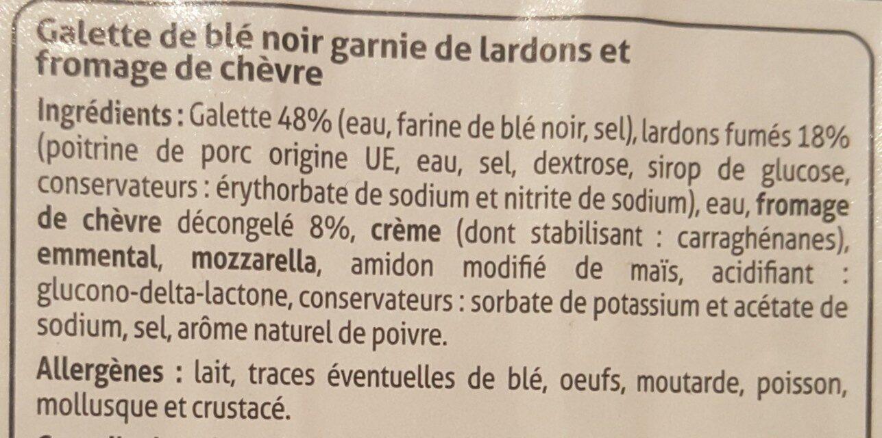 Galette chèvre lardons - Ingredients - fr