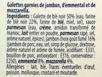 2 Galettes  Jambon Emmental Mozzarella - Ingrédients