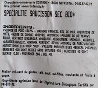 Spécialité de saucisson séché - Ingredients - fr