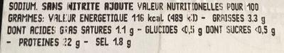 JAMBON CUIT SUPÉRIEUR SANS NITRITE NI NITRATE AJOUTE - Informations nutritionnelles - fr