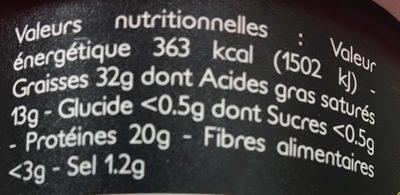 Rillettes du mans supérieures - Informations nutritionnelles - fr