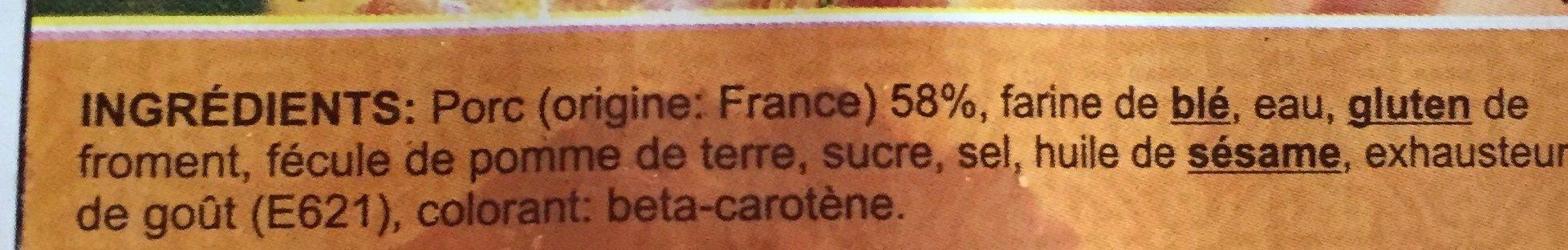 XIU MAI Bouchons au porc - Ingredients - fr