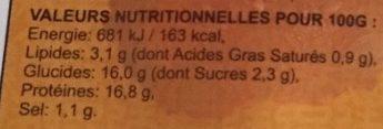XIU MAI Bouchons au porc - Nutrition facts - fr