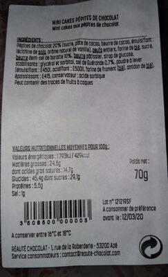 Mini cakes pepites de chocolat - Informations nutritionnelles