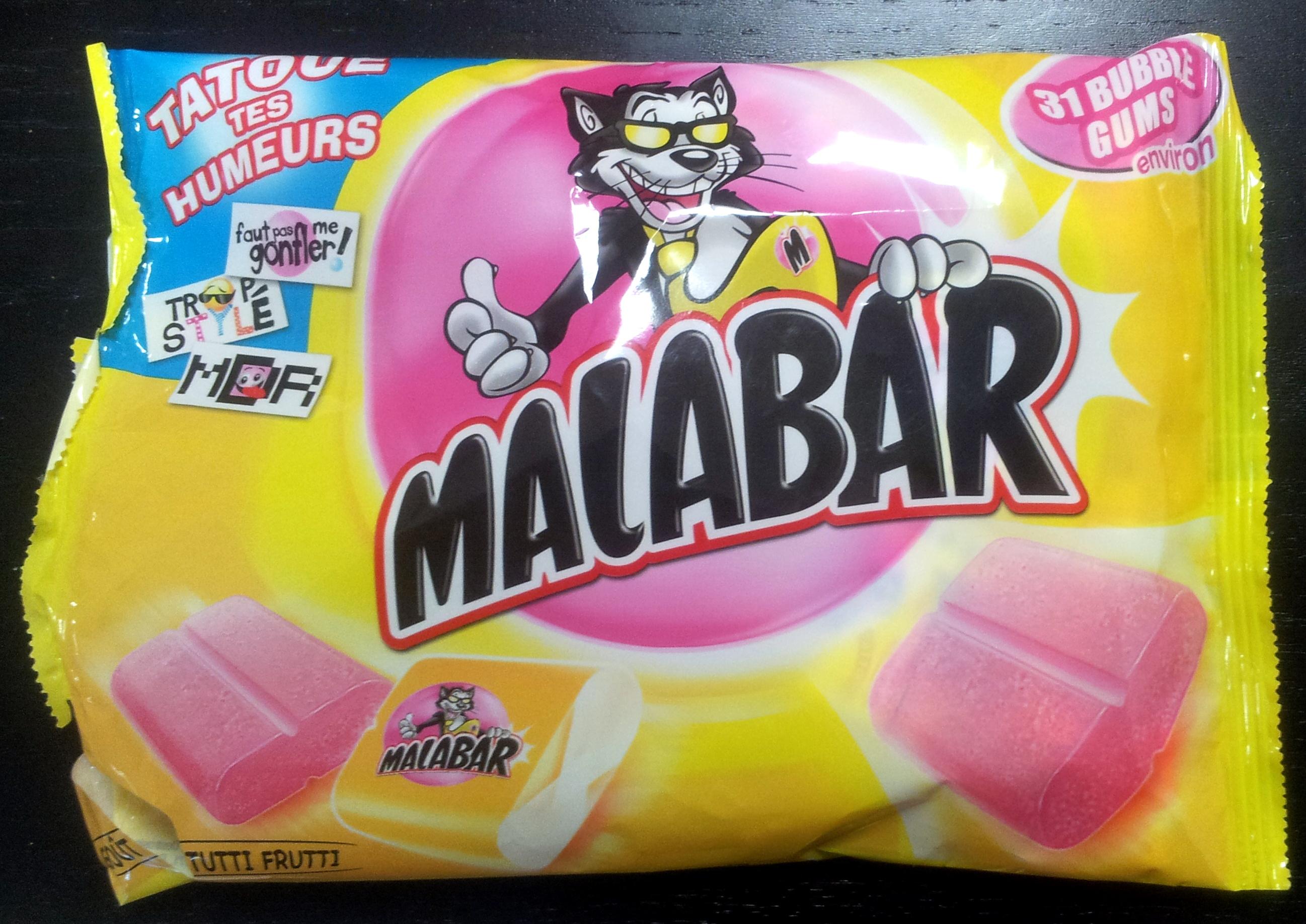 Malabar - tutti frutti - Cadbury - 214g (31 bubble gums)