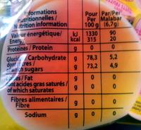 Malabar - tutti frutti - Informations nutritionnelles - fr