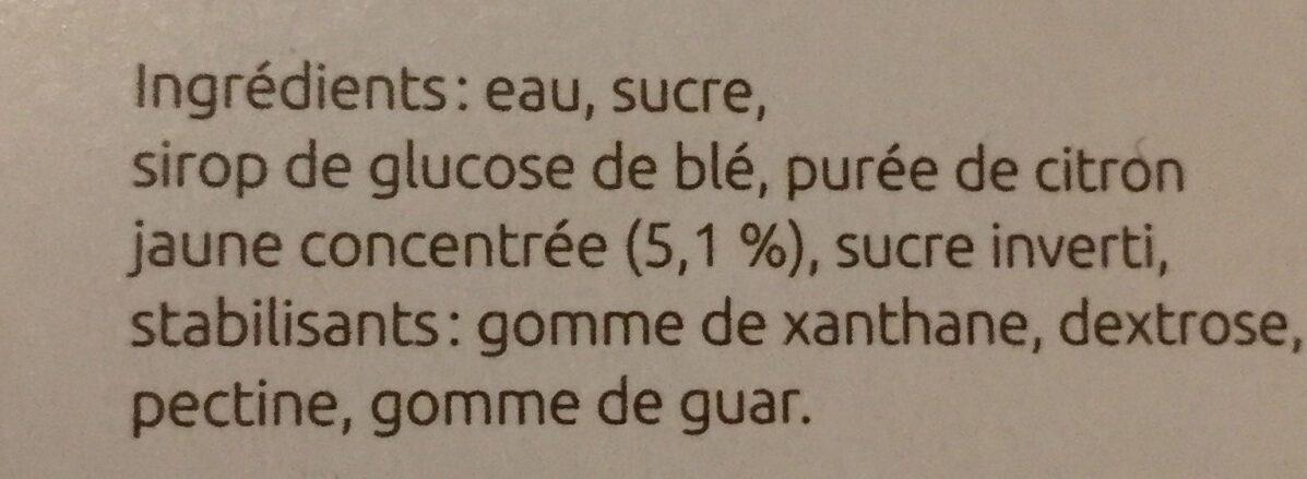 Sorbet citron - Ingrediënten