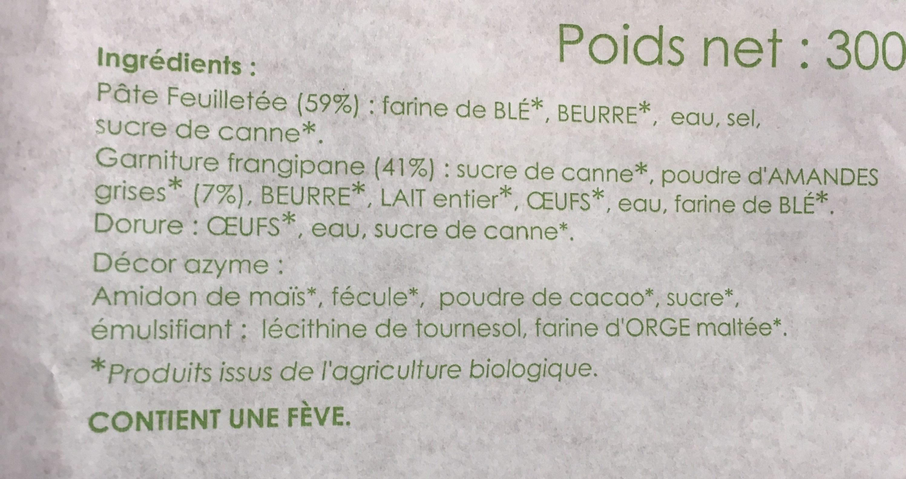 Galette frangipane bio 18cm - Ingrediënten