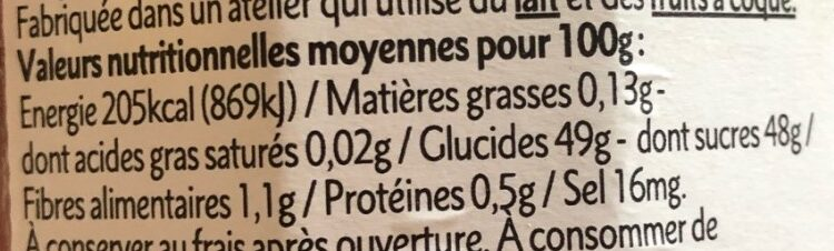 Abricot de la drôme - Nutrition facts