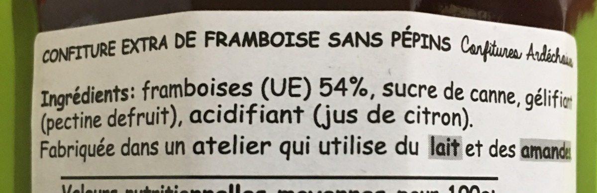 Confiture Extra de Framboise sans pépins - Ingrediënten