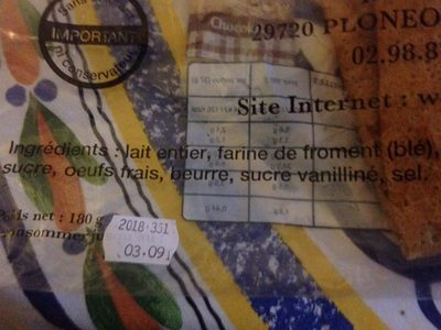 6 Crepes faites main PERCELAY - Ingrediënten - fr