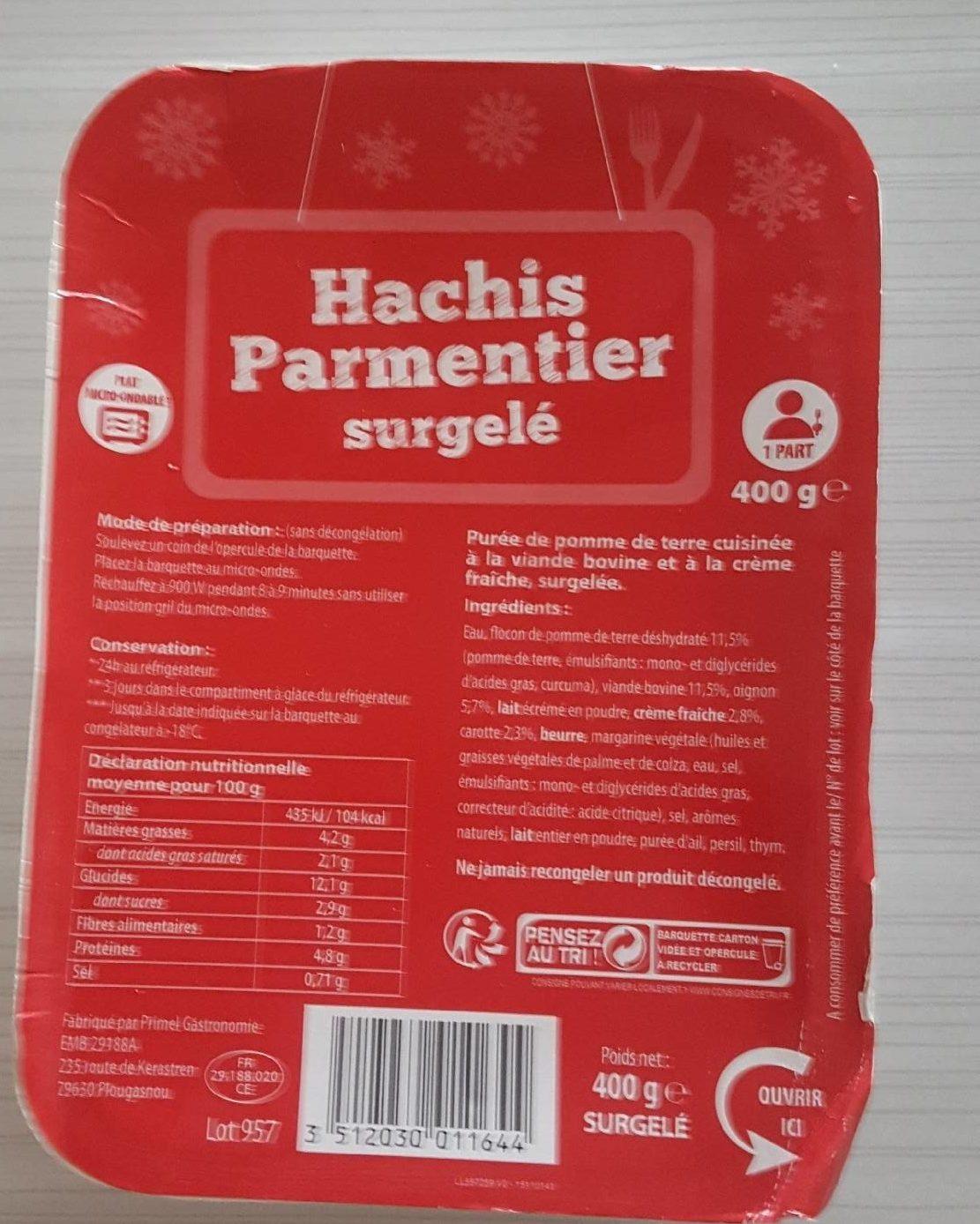 Hachis Parmentier Surgelé - Produit