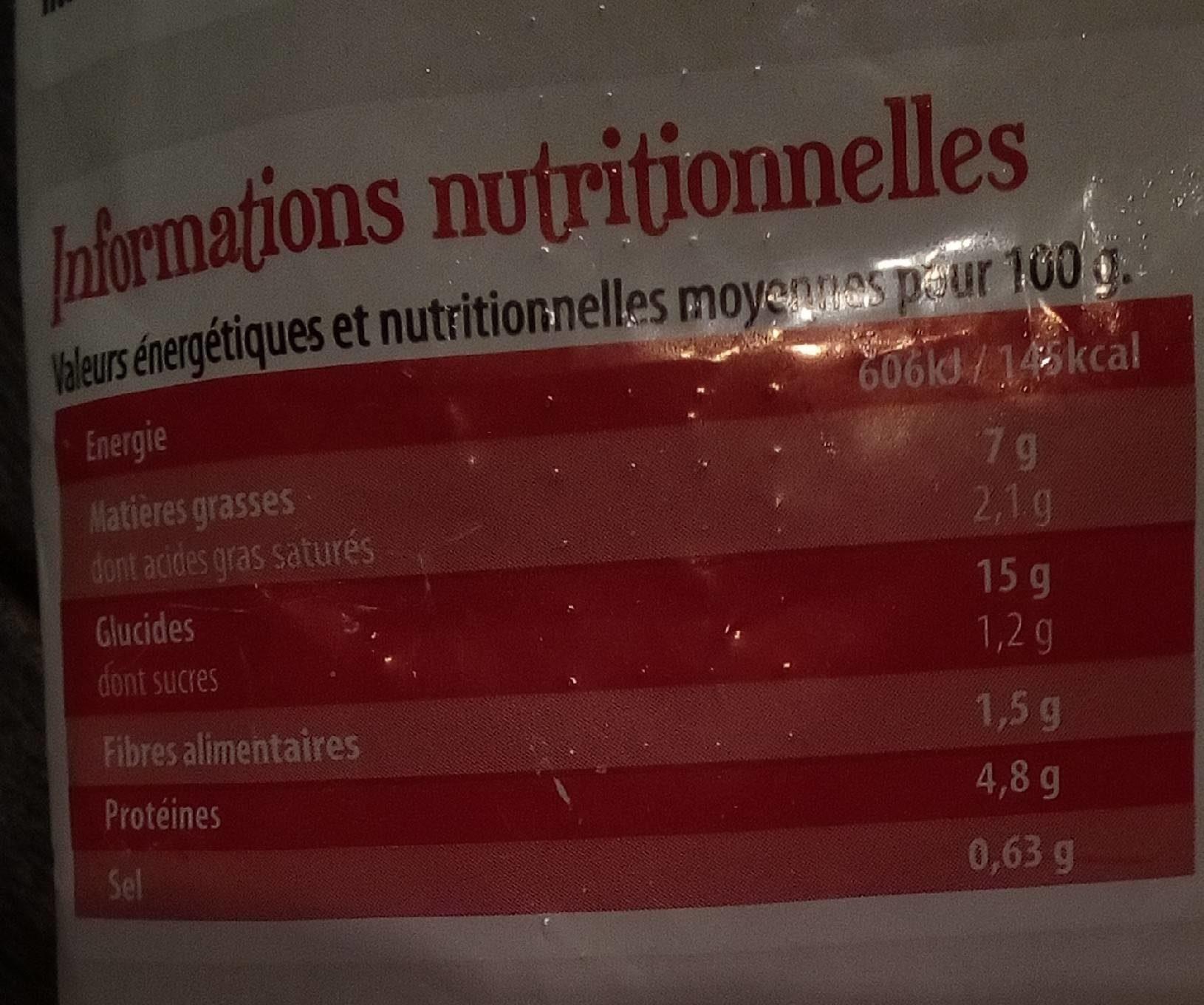 Salade de pates a l'italienne - Informations nutritionnelles - fr
