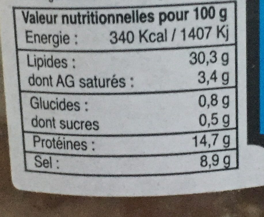 Anchoiade 200G Paesana ( Corse ) - Nutrition facts