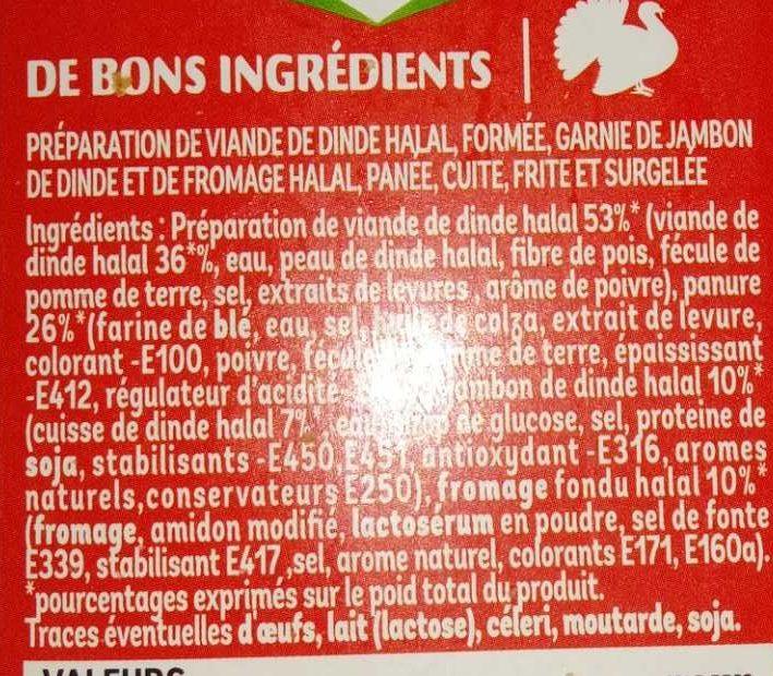 4 Cordons Bleus de Dinde - Ingrédients