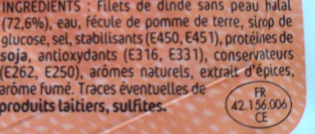 Délice de dinde fumé 4 tranches - Ingrédients - fr