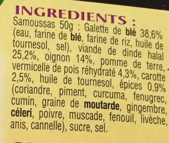 4 Samoussas de Dinde, Surgelé - Ingredients - fr