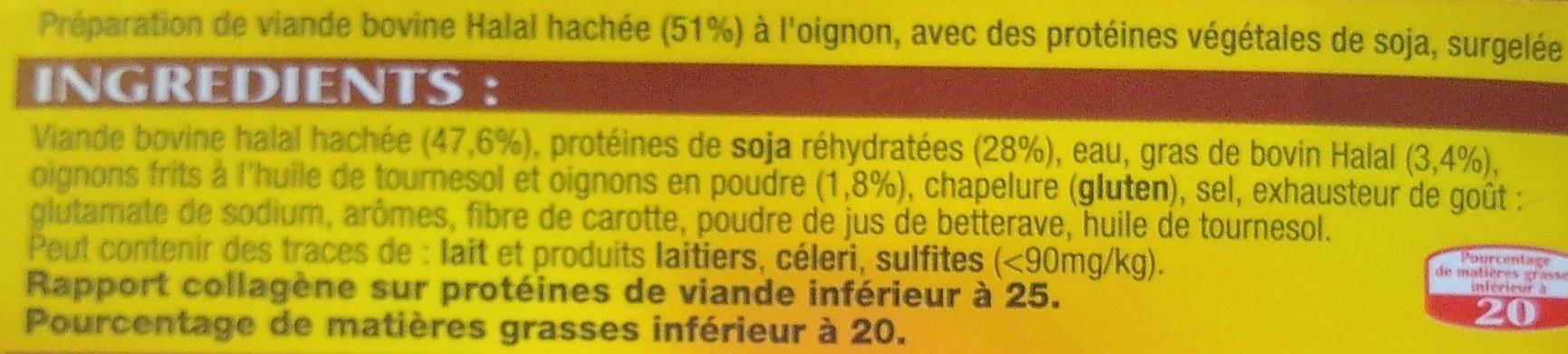 10 Burgers a l'oignon surgelés - Ingrédients - fr