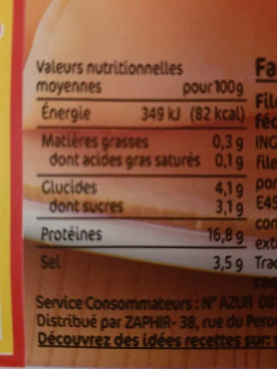 délice de poulet - Informations nutritionnelles - fr