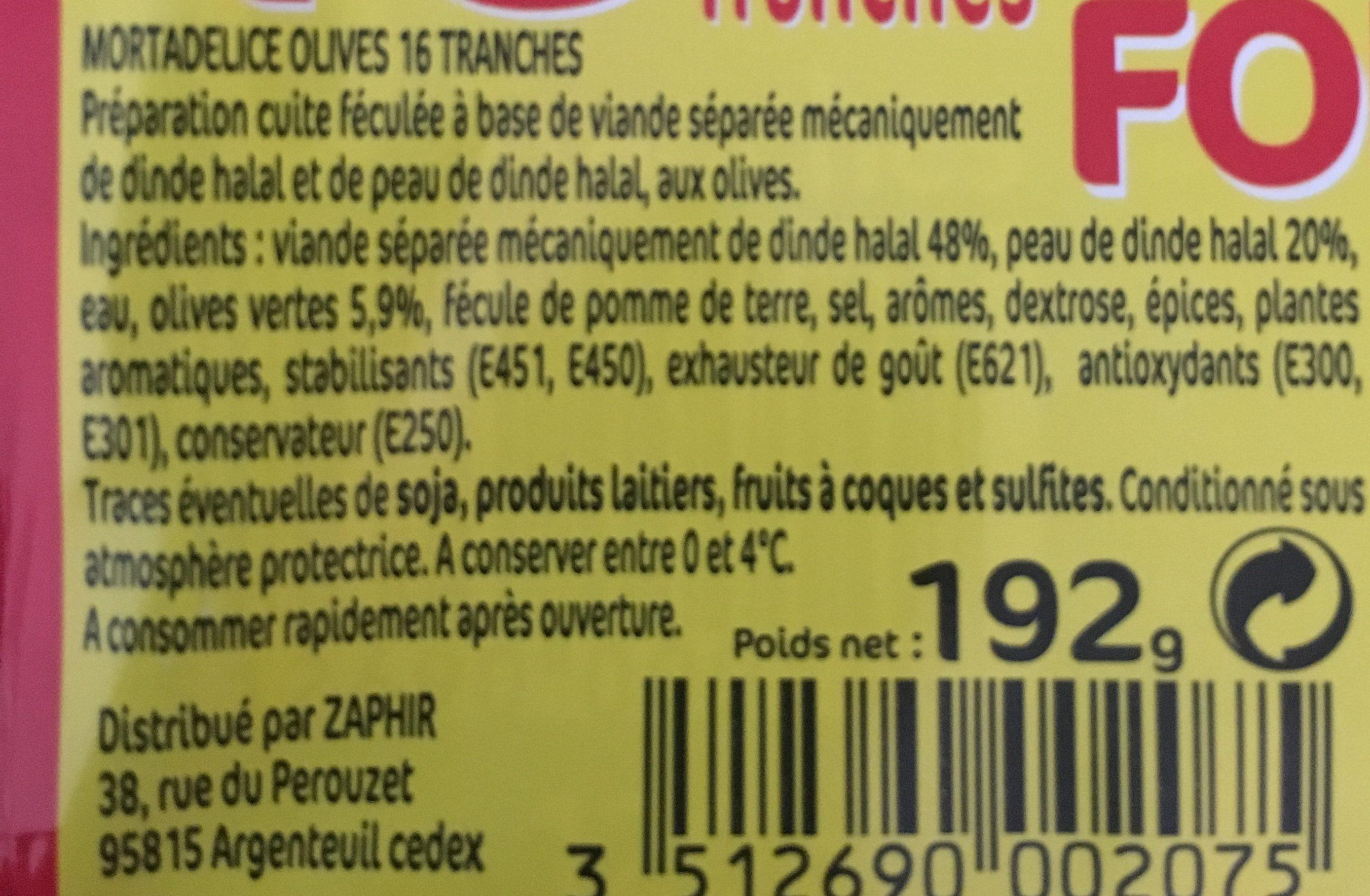 Mortadelle olive tranche - Ingredients