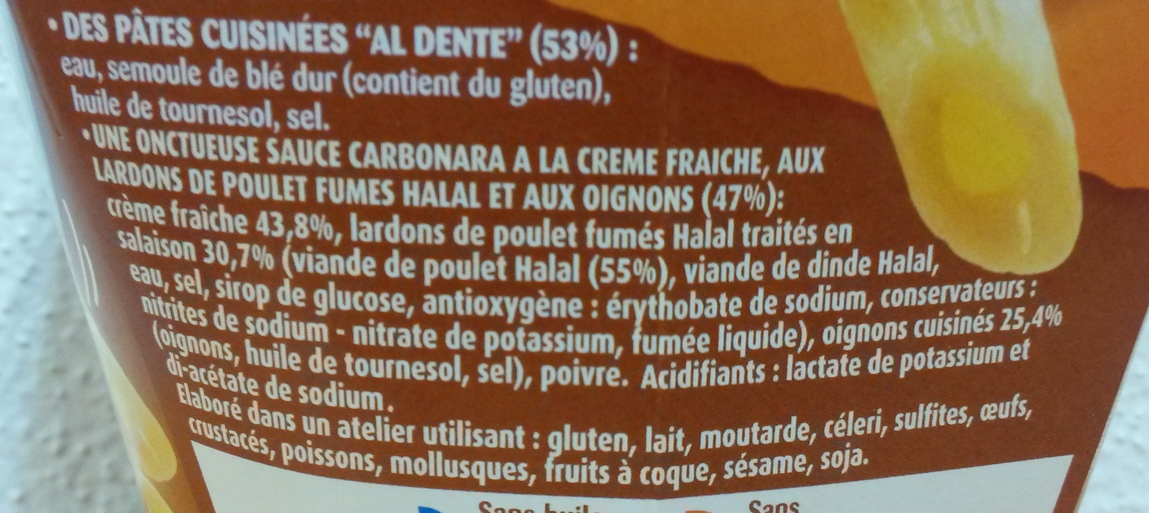 Penne Carbonara (Lardons de poulet, Crème Fraîche), Halal - Ingrédients - fr
