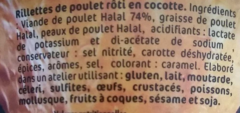 Rillettes de poulet rôti en cocotte - Ingredients