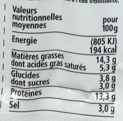 Saucis' goût fumé halal - Nutrition facts - fr