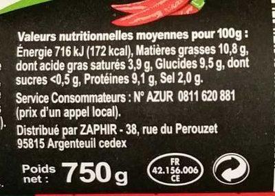 Mortadelle goût boeuf piquant - Nutrition facts
