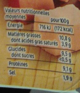 Dés de Cachir goût boeuf - Informations nutritionnelles