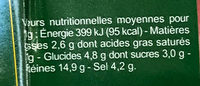 Délice de Bœuf - Nutrition facts - fr
