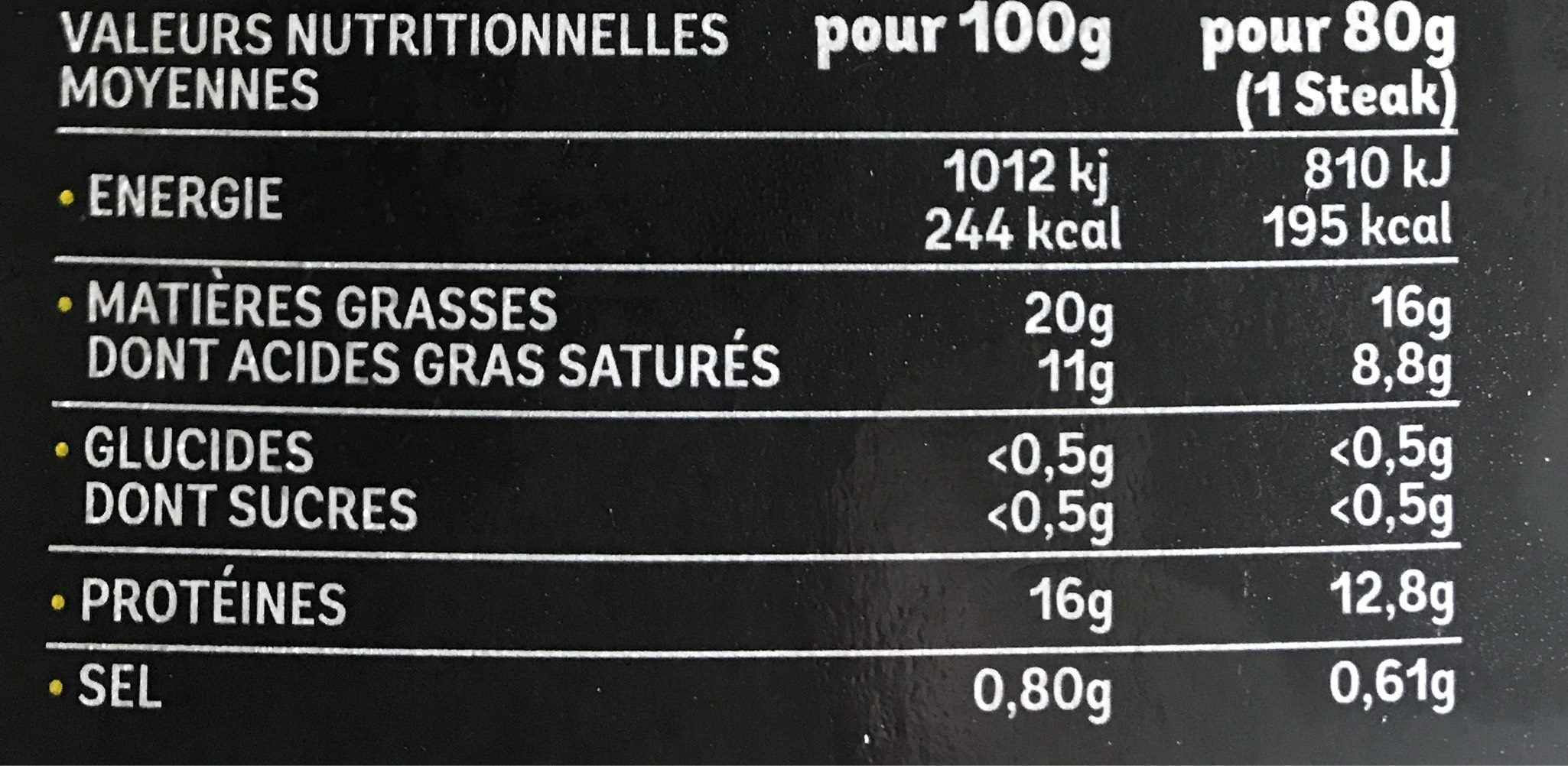 L'extra-tendre - Nutrition facts