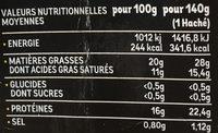 Le XL - Informations nutritionnelles