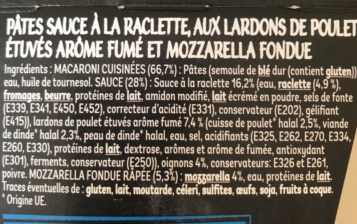Macaroni Raclet' - Ingredients