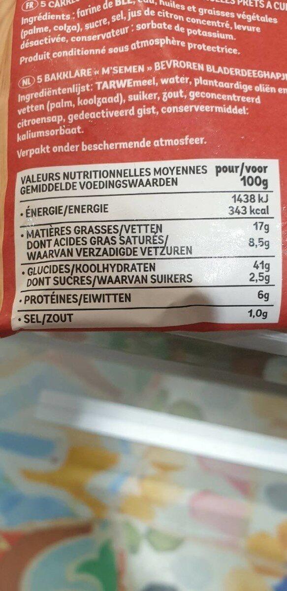 m'semen - Nutrition facts - fr