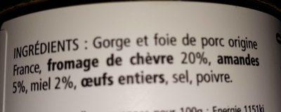 Terrine au Fromage de Chèvre, Miel et Amandes - Ingrediënten - fr