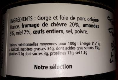 Terrine au Fromage de Chèvre, Miel et Amandes - Voedingswaarden - fr