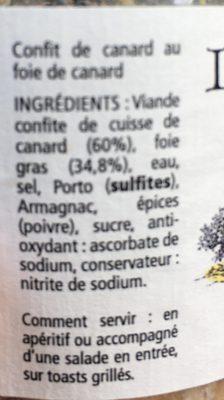 Tartinable de canard - Ingrédients