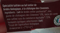 Yaourt de Brebis à la Châtaigne des Cévennes - Ingrediënten - fr
