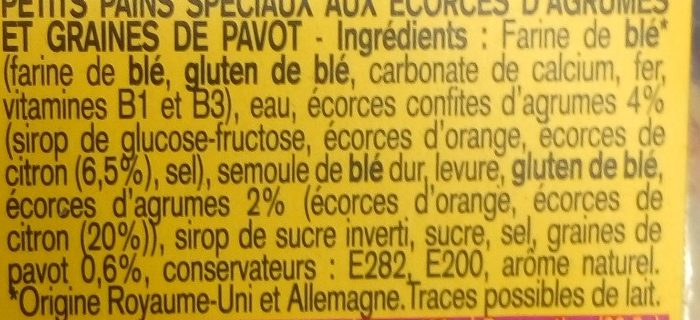 4 muffins citron & pavot - Ingrédients
