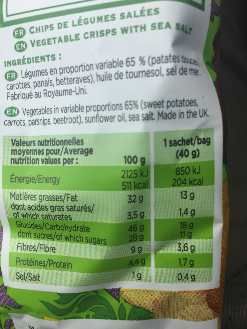 Lady chips Légumes - Nutrition facts
