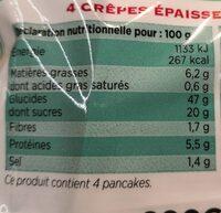 Mister Pancake - 4 Maxi Pancakes Nature - Voedingswaarden
