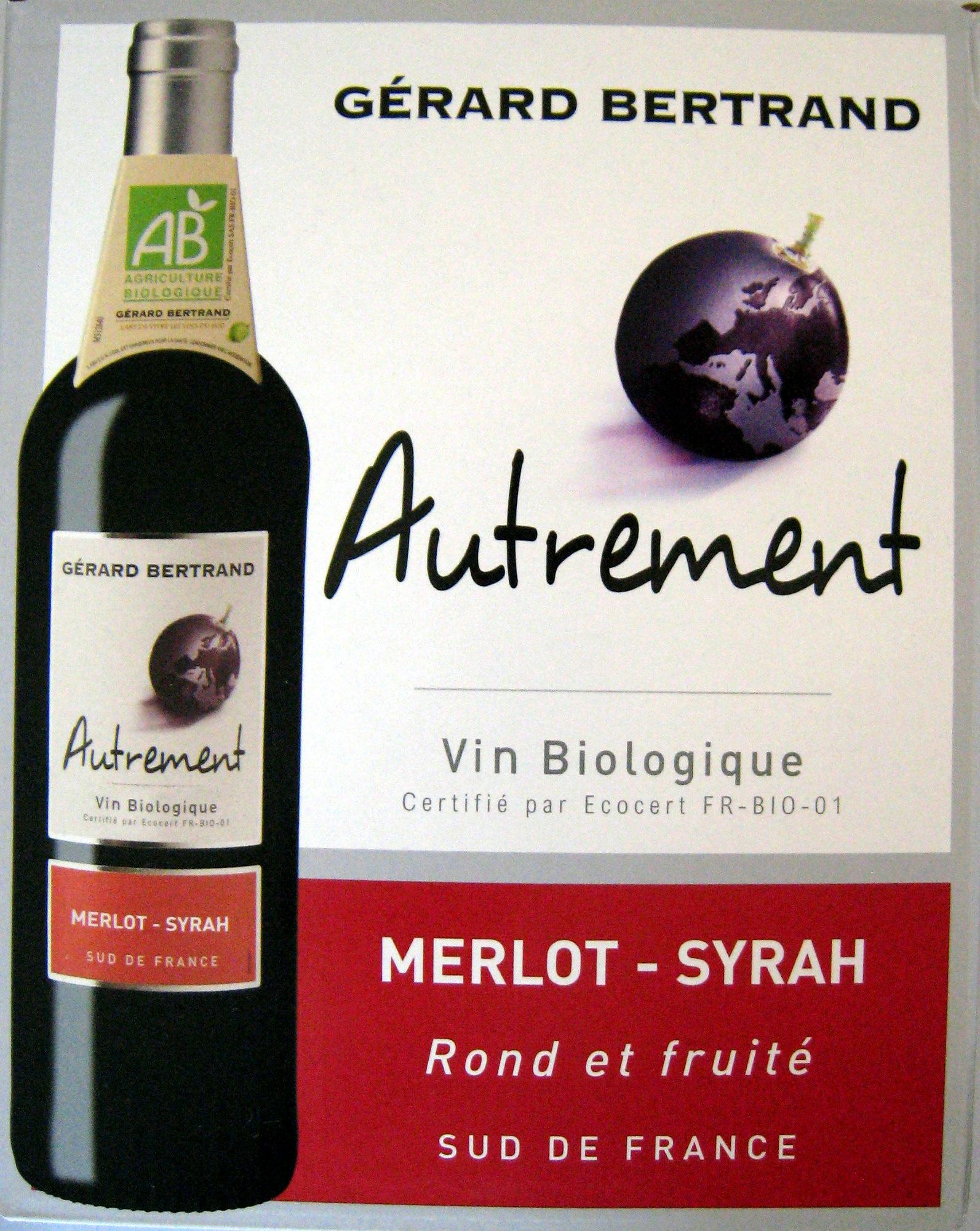 Vin rouge biologique merlot syrah autrement 3 l for Vin rouge cuisine