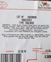 Saucisses de Toulouse - Informations nutritionnelles