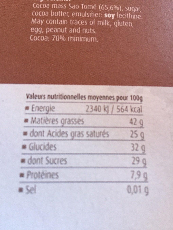 Sao Tomé Noir 70% - Informations nutritionnelles - fr