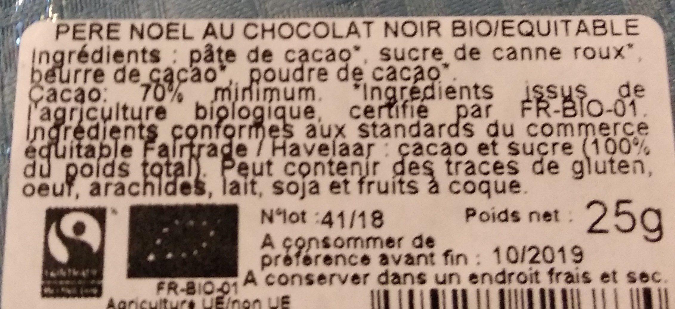 Père Noël au chocolat noir bio/équitable - Ingredients - fr