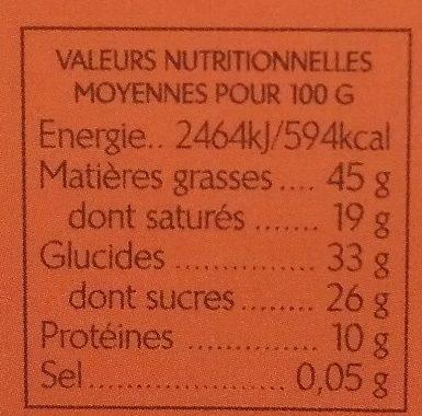 Noir Perou 72% - Informations nutritionnelles - fr