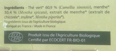 Thé vert menthe - Voedingswaarden - fr
